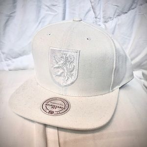 Mitchell & Ness white embroidered SnapBack hat